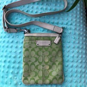 Green Coach Logo Crossbody Bag